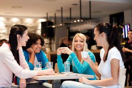 group of young women on coffee break