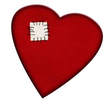 Broken heart mended - Valentines Day or health, isolated