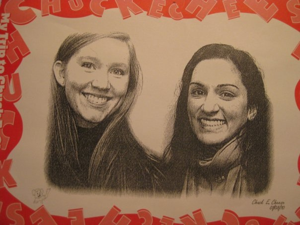 Courtney and I at Chuck E Cheese for a church event